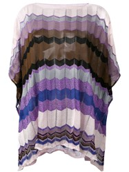 Missoni Patterned Poncho Women Cotton Polyester Viscose One Size Pink Purple