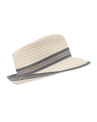 Eric Javits Big Deal Woven Fedora Hat Frost White Cream Blue