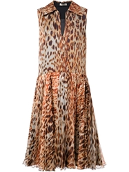 Bouchra Jarrar Leopard Print Flared Dress Brown