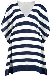 Vionnet Pancho Striped Stretch Cotton Top White