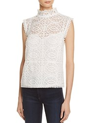 Aqua Lace Mock Neck Sleeveless Top 100 Exclusive White