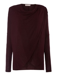 Label Lab Wrap Over Cowl Knit Jumper Wine