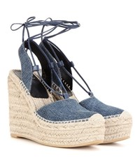 Saint Laurent Denim Espadrille Wedge Sandals Blue