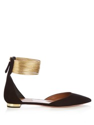 Aquazzura Hello Lover Point Toe Suede Flats Black