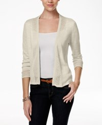 Charter Club Crochet Trim Open Front Cardigan Only At Macy's Sand