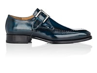Harris Stitch Detail Monk Strap Shoes Navy
