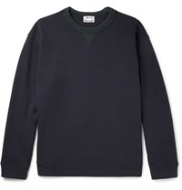 Acne Studios Field Contrast Trimmed Fleece Back Cotton Jersey Sweatshirt Blue