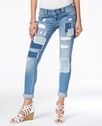 Miss Me Ripped Patchwork Medium Blue Wash Skinny Jeans Light Blue