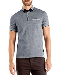 Ted Baker Taytay Color Block Oxford Relaxed Fit Polo Navy