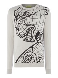 Versace Men's Tiger Pattern Crew Neck Knitted Jumper Grey