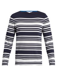 Orlebar Brown Byrne Long Sleeved Striped Cotton T Shirt Navy White