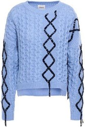 Charli Woman Frayed Cable And Ribbed Knit Sweater Light Blue