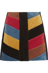 Mih Jeans M.I.H Chevron Patchwork Suede Mini Skirt Multi