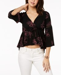 American Rag Juniors' Printed Lace Trimmed Babydoll Top Created For Macy's Classic Black Combo