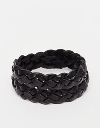 Polo Ralph Lauren Buckle Leather Plaited Bracelet Black