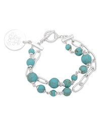 Ralph Lauren Link And Stone Double Strand Pendant Bracelet Turquoise Silver
