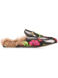 Gucci Princetown Floral Brocade Slippers Black