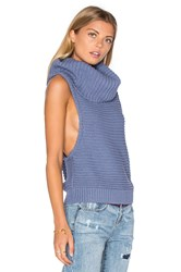 One Teaspoon Parisienne Nights Sleeveless Sweater Blue