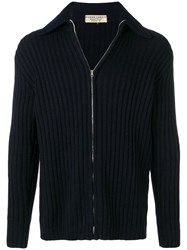 Pierre Cardin Vintage 1970'S Ribbed Knit Cardigan Blue