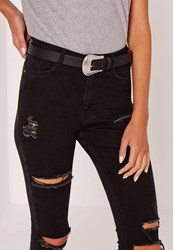 Missguided Western Single Buckle Belt Black Black