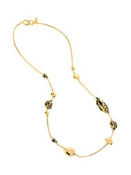 Diane Von Furstenberg Twig Dew Drop Long Station Necklace Gold Black