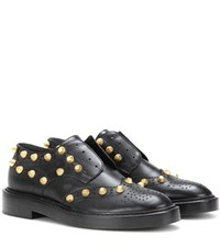 Balenciaga Studded Leather Derby Shoes Black