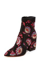 Loeffler Randall Isla Embroidered Booties Black Floral