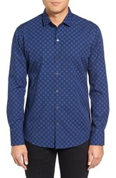 Zachary Prell Men's Trim Fit Medallion Print Sport Shirt