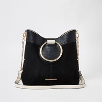 River Island Black Ring Handle Bucket Bag