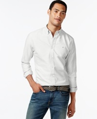 Tommy Hilfiger New England Solid Long Sleeve Custom Fit Oxford Shirt Classic White