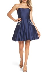 Blondie Nites Embellished Satin Fit And Flare Dress Navy