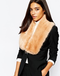 Reiss Faux Fur Scarf With Chain Palepink