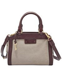 Fossil Logan Small Leather Satchel Grey