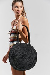 Urban Outfitters Large Circle Straw Shoulder Bag Black