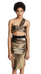 Baja East Wrap Bandeau Top Gold