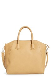 Sole Society Gina Braided Faux Leather Satchel Brown Camel