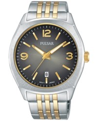 Pulsar Men's Traditional Two Tone Stainless Steel Bracelet Watch 42Mm Ps9483 Two Tone
