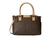 Calvin Klein Hudson Monogram Satchel Brown Khaki Camel Satchel Handbags Multi