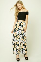 Forever 21 Wrap Front Floral Maxi Skirt Black Mustard