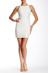 Speechless Sleeveless Zip Back Glitter Sheath Dress Juniors White