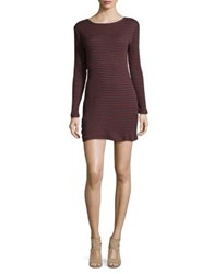 French Connection Tim Tim Ribbed Long Sleeve Cotton Dress Red