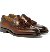 Berluti Polished Leather Tasselled Loafers Brown