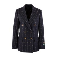 Gucci Gg Striped Wool Blazer Navy