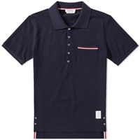 Thom Browne Mercerised Pique Pocket Polo Blue