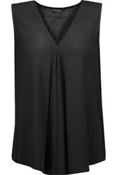Theory Meighlan Pleated Stretch Jersey Tank Black