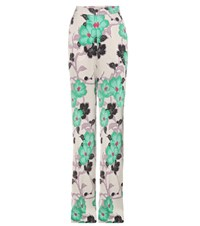 Etro Floral Printed Satin Trousers Multicoloured