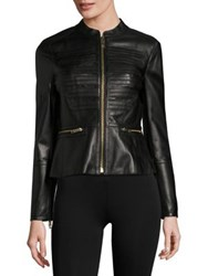 Burberry Leather Zip Front Jacket Black