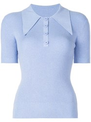 Joostricot Ribbed Knit Polo Top Blue