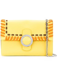 Orciani Ethnic Clutch Women Cotton Calf Leather One Size Yellow Orange