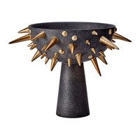 L'objet Celestial Bowl On Stand Black And Gold Small